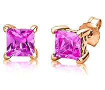 Ohrstecker 925 Sterling- Silber Prinzess Pink/Rosa Synthetischer Saphir