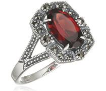 Ring 925 Silber vintage-oxidized Granat rot Markasit 52 (16.6) - L0128R/90/M2/52