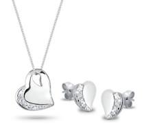 Schmuckset Halskette und Ohrringe Herz 925 Sterling Silber Zirkonia Brillantschliff silber 0906872011