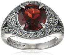 Ring 925 Silber vintage-oxidized Granat rot Markasit 60 (19.1) - L0030R/90/M2/60