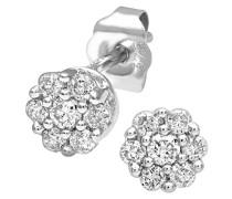 Ohrstecker 9 Karat 375 Weißgold rhodiniert Diamant 0