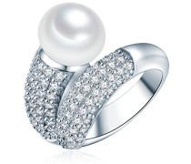 Ring Hochwertige Süßwasser-Zuchtperlen in ca. 10 mm Button weiß 925 Sterling Silber Zirkonia weiß - Perlenring mit echten Perle weiss 60201416