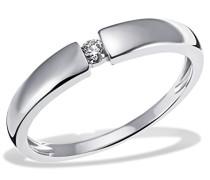 Ring Verlobung Solitär 585 Weißgold rhodiniert Diamant (0.10 ct) Brillantschliff Verlobungsring Diamantring