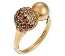 Ring 925 Sterling Silber rhodiniert Glas Zirkonia Réunion braun