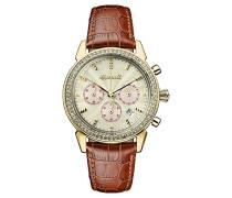 Chronograph Quarz Uhr mit Leder Armband I03902