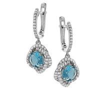 Creolen 925 Silber rhodiniert Zirkonia blau Rundschliff - ZO-7036