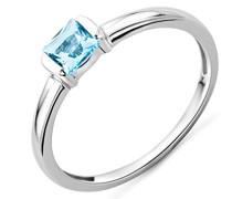 Damen-Ring mit Blau Topas 9 Karat 375 Weißgold