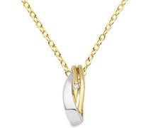 Halskette 9 Karat (375) Gelb-/Weißgold Anhänger mit Brillant 45cm Kette