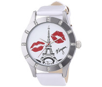 Damen-Armbanduhr M1110W Analog Leder Weiß