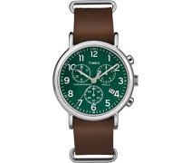 Erwachsene Chronograph Quarz Uhr mit Leder Armband TW2P97400