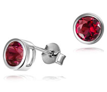 Ohrstecker 925 Sterlingsilber Zirkonia dark ruby red Zargenfassung