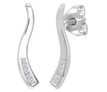 Ohrhänger 9 Karat Wellen Tropfen Ohrringe 375 Weißgold rhodiniert Diamant 0