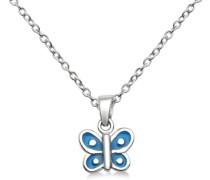 Kinder-Anhnger 925 Sterling-Silber Schmetterling Emaille hellblau mit Kette 36-40cm MSM110PK