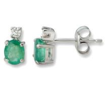 MA111EW Ohrstecker 18 Karat/750 Weißgold mit Emerald und 2 Brillanten