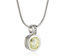 Damen Halskette 925 Sterling Silber Zirkonia grün