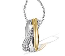 Halskette 925 Sterlingsilber Classic Bicolor vergoldet 44 weiße Zirkonia Kettenanhänger Schmuck