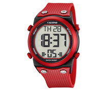 Armbanduhr Digitaluhr mit LCD Zifferblatt Digital Display und rot Kunststoff Gurt k5705/5