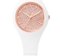 ICE glitter White Rose-Gold - Silbergraue Damenuhr mit Lederarmband - 001343 (Small)