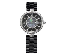 Armbanduhr - Analog Quarz - Premium Keramik Armband - Perlmutt Zifferblatt - Diamanten und Swarovski Elemente - STM15SM2