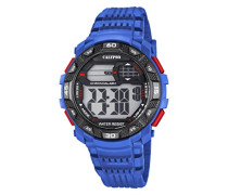 Digitale Armbanduhr mit LCD Dial Digital Display und Blau Kunststoff Gurt k5702/2