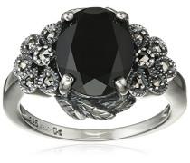 Ring 925 Silber vintage-oxidized Spinell schwarz Markasit 50 (15.9) - L0043R/90/Z2/50