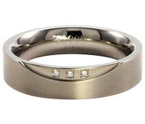 Ring Titan mattiert Diamant (0.045 ct) Weiß Brillantschliff