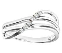 Damen-Ring 9 Karat 375 Bicolor Zirkonia