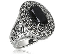 Ring 925 Silber vintage-oxidized Spinell schwarz Markasit 58 (18.5) - L0031R/90/Z2/58