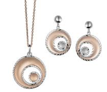 Set: Halskette + Ohrringe 925 Sterling Silber mattiert silber SET-5189
