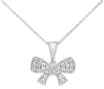 Halskette 9 ct Weiß Gold Schleife mit Zirkonia Steinen 46 cm P1615W