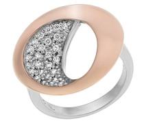Ring Silber vergoldet rhodiniert Zirkonia weiß Brillantschliff
