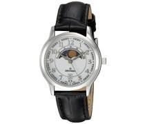 Armbanduhr, Analog, Quarz, Leder, schwarz