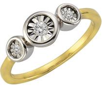 Ring 925 Sterling Silber rhodiniert Diamant 0.003 ct weiß Brillantschliff