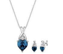 Schmuckset Halskette + Ohrringe Herz 925 Silber mit Swarovski Kristallen im Herzschliff blau - 0912770414_45
