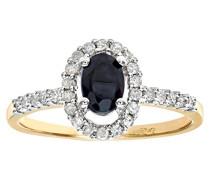 Damen-Ring 9 K 375 Gelbgold Saphir Diamant