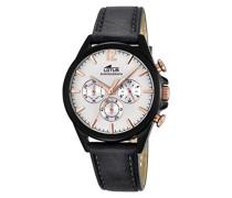 Quarz-Uhr mit weißem Zifferblatt Chronograph-Anzeige und schwarzes Lederband 18199/1