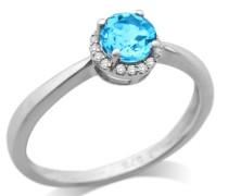 Ring 9 Karat (375) Weißgold Topas Blau umrahmt von Brillanten