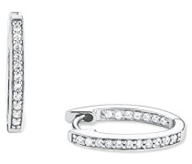 Creolen Ohrringe 925 Sterling Silber rhodiniert Zirkonia 17 mm weiß