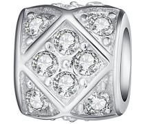 Bead 925 Silber rhodiniert Zirkonia Rundschliff weiß - 60177021