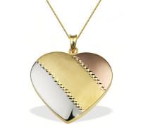 Halskette 9 Karat 375 Gelbgold Herz Tricolor 45 cm Herzanhänger