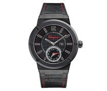 Salvatore Ferragamo F-80 Motion Smartwatch verbunden mit schwarzem Zifferblatt und schwarzem Lederband FAZ020016