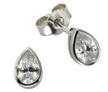 Ohrstecker 925 Sterling Silber rhodiniert Zirkonia weiß 358220292