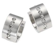 Stainless Steel Creolen Edelstahl Kristalle weiß 389010009