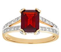 Damen-Ring 9 K Gelbgold Diamant Granat