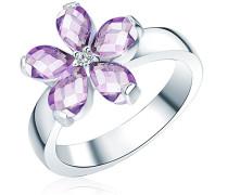 Ring 925 Silber rhodiniert Zirkonia Tropfenschliff lila