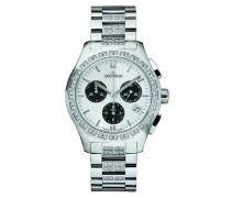 5096.9732 Swiss Armbanduhr mit silberfarbenem Zifferblatt Chronograph Anzeige und Silber-Edelstahl-Armband