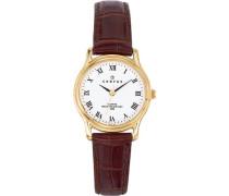 – 646241 Armbanduhr – Quarz Analog – Weißes Ziffernblatt – Armband Leder braun