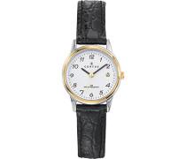 – 645352 Armbanduhr – Quarz Analog – Weißes Ziffernblatt – Armband Leder Schwarz