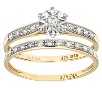 Damen-Ring 9 K Gelbgold P1 Diamant 0,15 ct