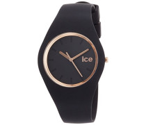ICE glam Black Rose-Gold - Schwarze Damenuhr mit Silikonarmband - 000980 (Medium)